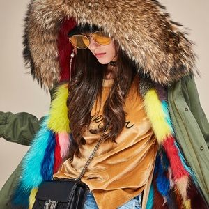 Jackets & Blazers - Gorgeous Fox Fur MuliColored Parka Jacket Small